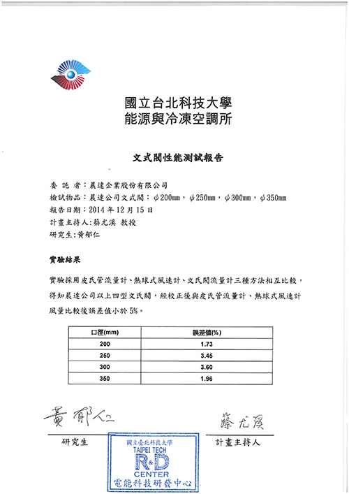 The Performance Test of Taipei University of Science and Technology-CRD 1
